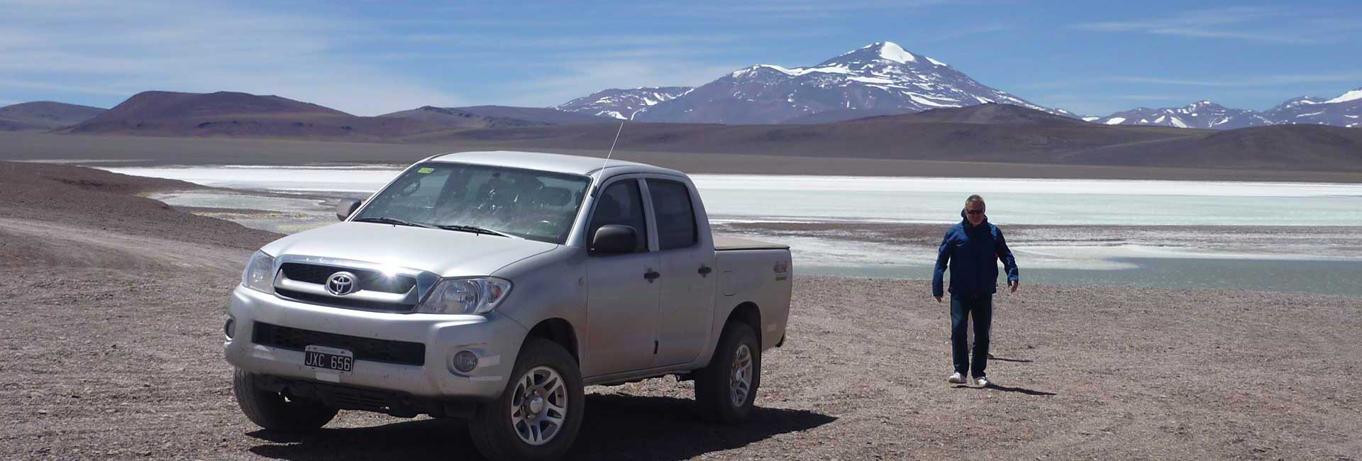 Toyota Hilux in front of Laguna Brava