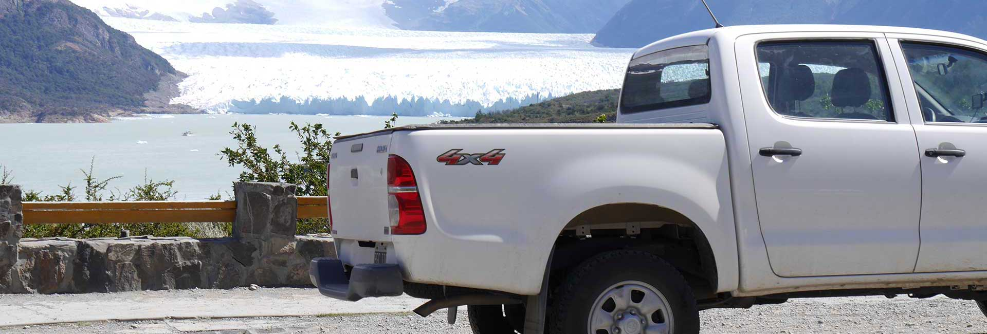 Hilux in front of Perito Moreno glacier